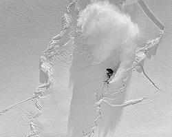 Skier in avalanche