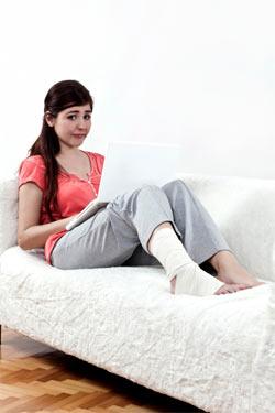 Girl with ski injury